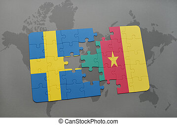 puzzle with the national flag of sweden and cameroon on a world map background.