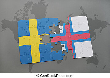 puzzle with the national flag of sweden and faroe islands on a world map background.