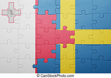 puzzle with the national flag of sweden and malta
