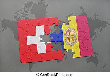 puzzle with the national flag of switzerland and andorra on a world map background.