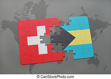 puzzle with the national flag of switzerland and bahamas on a world map background.