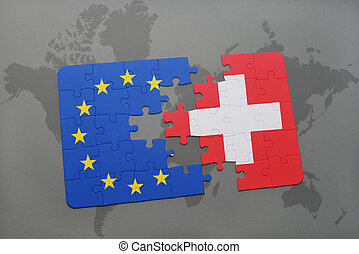 puzzle with the national flag of switzerland and european union on a world map background.