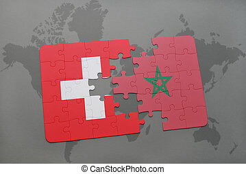 puzzle with the national flag of switzerland and morocco on a world map background.