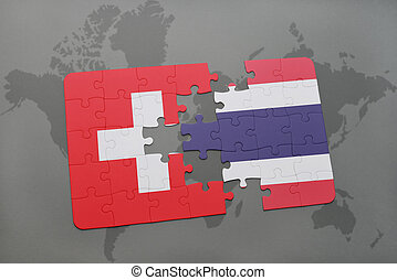 puzzle with the national flag of switzerland and thailand on a world map background.