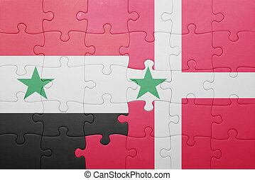 puzzle with the national flag of syria and denmark . concept