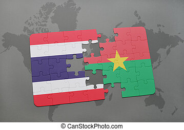 puzzle with the national flag of thailand and burkina faso on a world map
