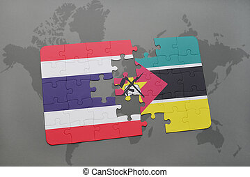 puzzle with the national flag of thailand and mozambique on a world map