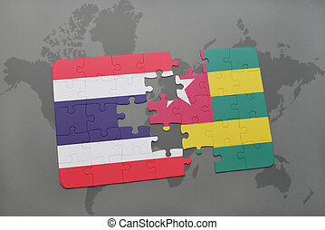 puzzle with the national flag of thailand and togo on a world map