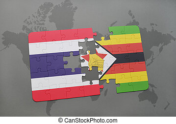 puzzle with the national flag of thailand and zimbabwe on a world map