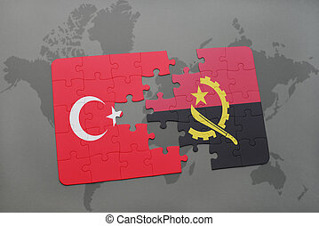 puzzle with the national flag of turkey and angola on a world map