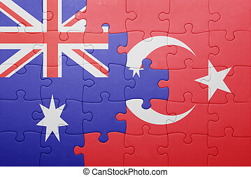 puzzle with the national flag of turkey and australia