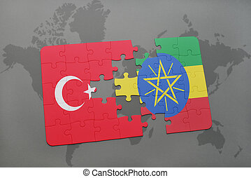 puzzle with the national flag of turkey and ethiopia on a world map