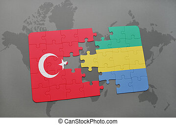 puzzle with the national flag of turkey and gabon on a world map