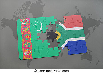 puzzle with the national flag of turkmenistan and south africa on a world map