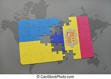 puzzle with the national flag of ukraine and andorra on a world map background.
