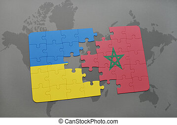 puzzle with the national flag of ukraine and morocco on a world map