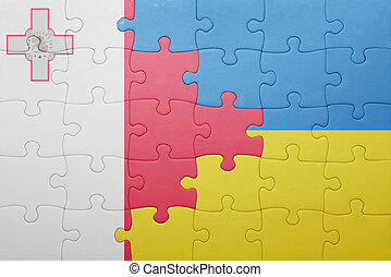 puzzle with the national flag of ukraine and malta