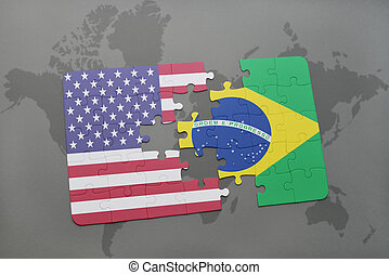 puzzle with the national flag of united states of america and brazil on a world map background