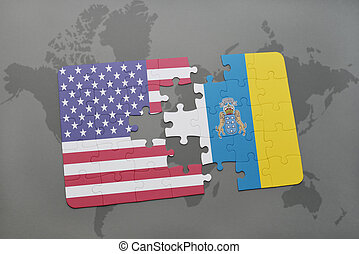 puzzle with the national flag of united states of america and canary islands on a world map background