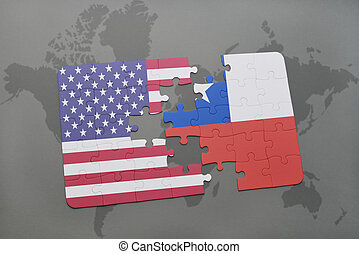 puzzle with the national flag of united states of america and chile on a world map background