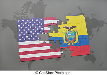 puzzle with the national flag of united states of america and ecuador on a world map background