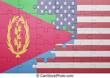 puzzle with the national flag of united states of america and eritrea