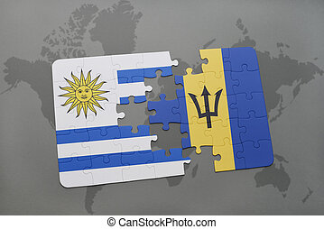 puzzle with the national flag of uruguay and barbados on a world map background.