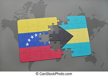 puzzle with the national flag of venezuela and bahamas on a world map background.