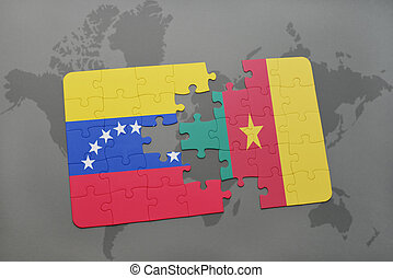 puzzle with the national flag of venezuela and cameroon on a world map