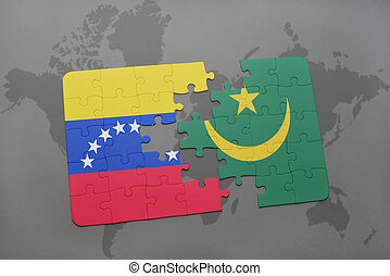 puzzle with the national flag of venezuela and mauritania on a world map