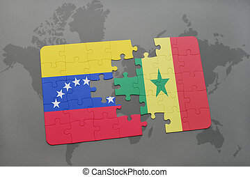 puzzle with the national flag of venezuela and senegal on a world map