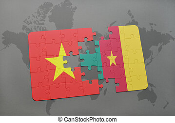puzzle with the national flag of vietnam and cameroon on a world map