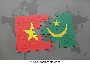 puzzle with the national flag of vietnam and mauritania on a world map