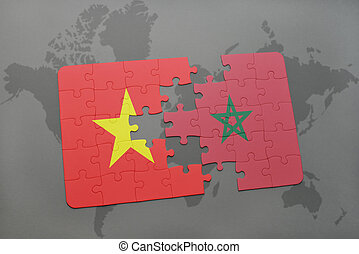 puzzle with the national flag of vietnam and morocco on a world map