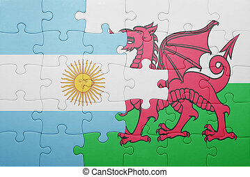 puzzle with the national flag of wales and argentina