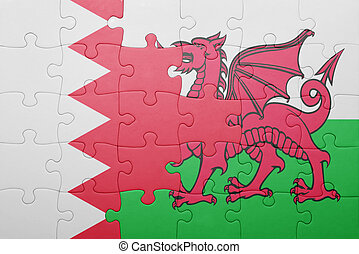 puzzle with the national flag of wales and bahrain