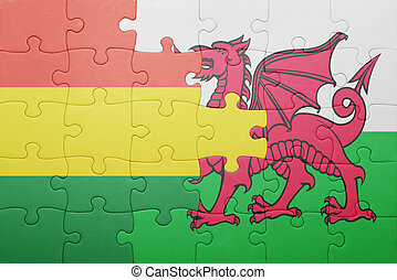 puzzle with the national flag of wales and  bolivia