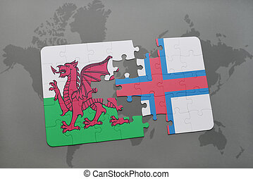 puzzle with the national flag of wales and faroe islands on a world map background.