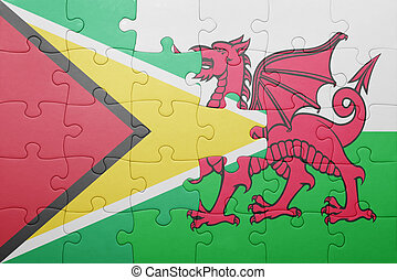 puzzle with the national flag of wales and guyana