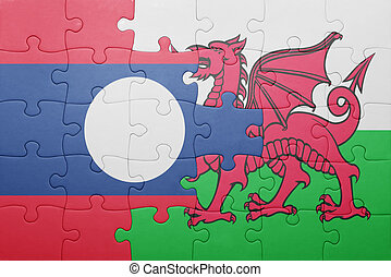 puzzle with the national flag of wales and  laos