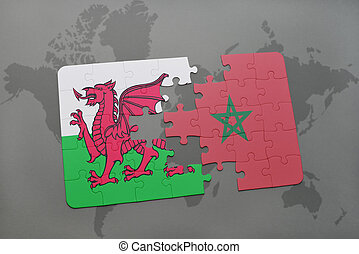 puzzle with the national flag of wales and morocco on a world map