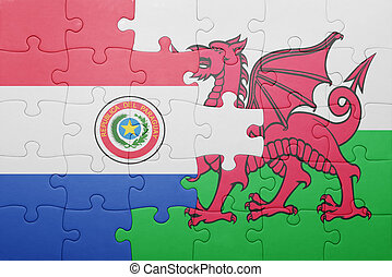 puzzle with the national flag of wales and  paraguay