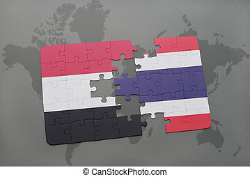 puzzle with the national flag of yemen and thailand on a world map background.