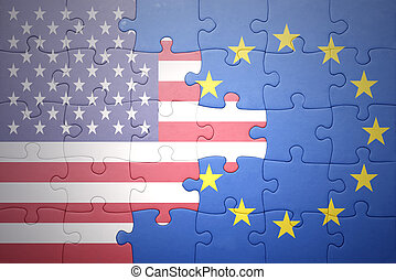 puzzle with the national flags of united states of america and european union