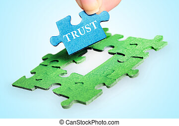 Trust word - Puzzle with Trust word piece