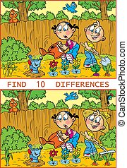 puzzle with working children in the garden
