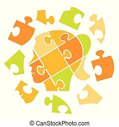 Puzzle woman head psychological Adobe Illustrator(R) 9.0