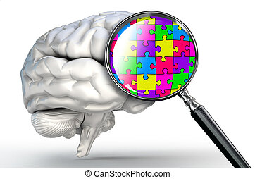 puzzle word on magnifying glass and human brain