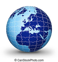 Puzzle world illustration red World globe - world...
