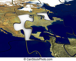 Puzzle World Map US - 3d rendered image of a jigsaw-puzzle...